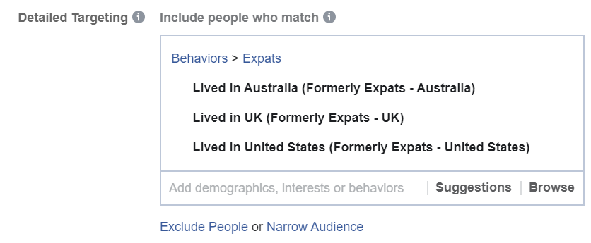 Include Specific Countries Expats in Facebook Ads Manager