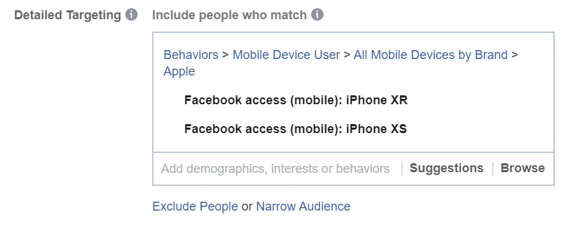 Include mobile devices as targeting in Facebook Ads Manager
