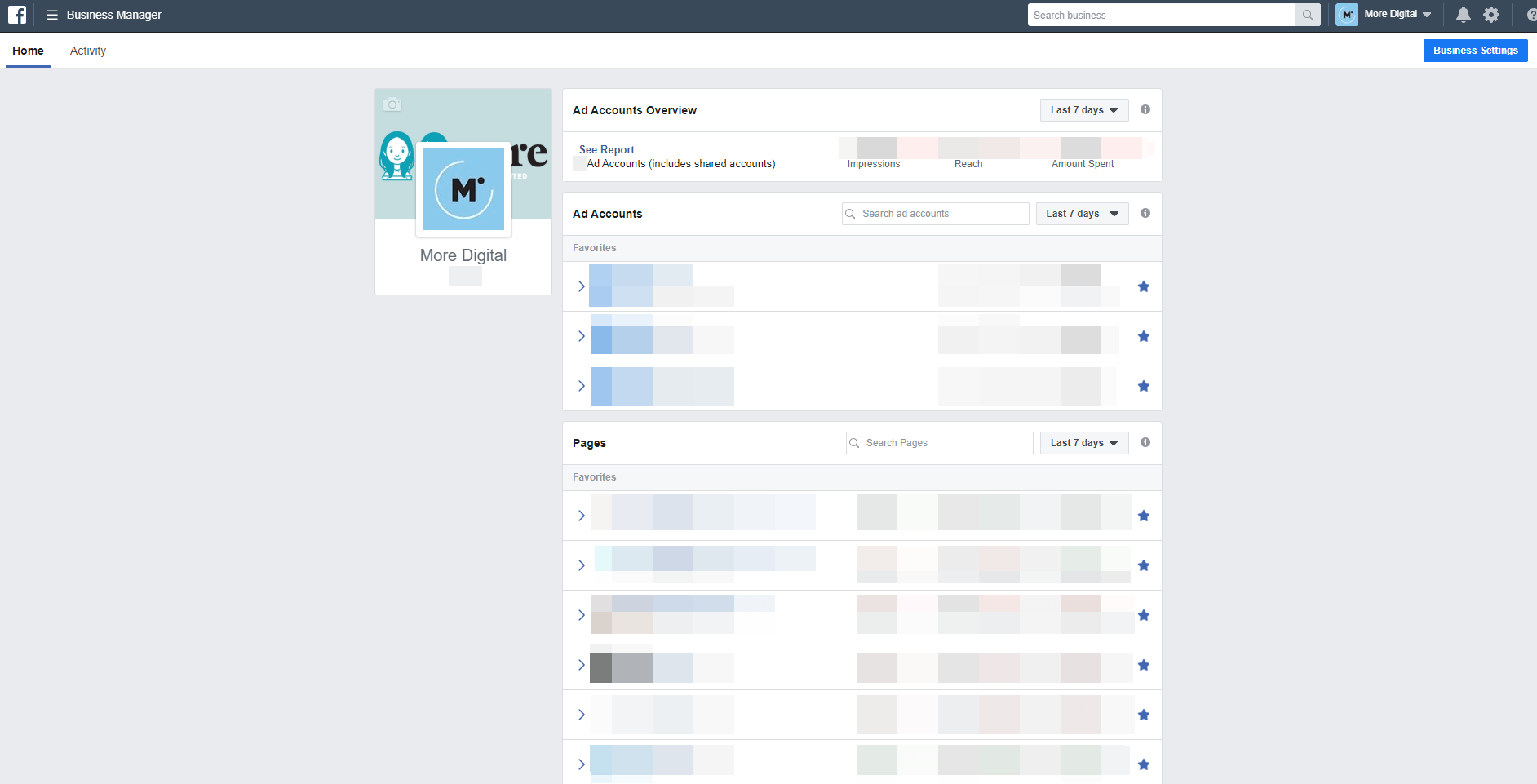 Facebook Business Manager Home Page
