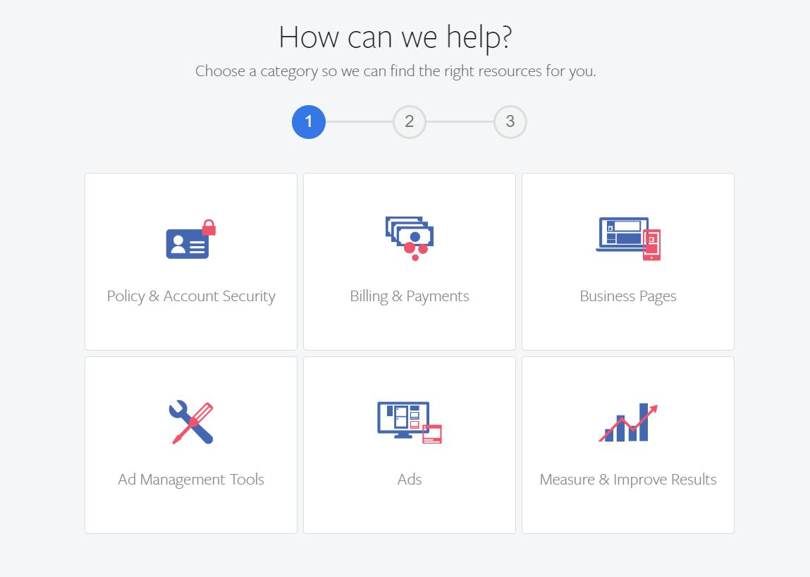 Facebook Help Categories