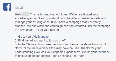 Facebook reply on Disabled Ad Account