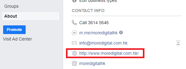 Facebook Page Contact Information
