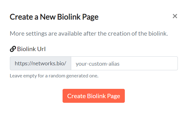Create BioLink Page in Network.Bio