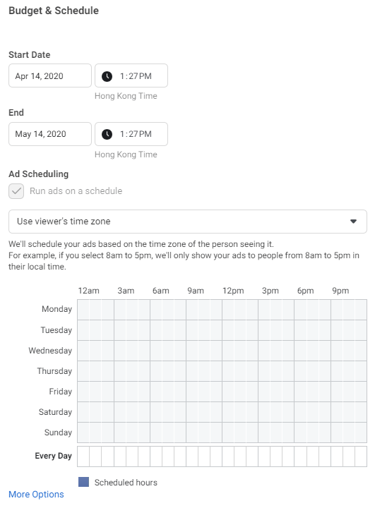 Facebook Ad Budget & Schedule