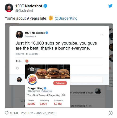 Burger King Twitter Like Old Post