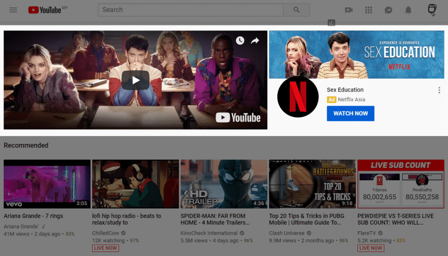 Netflix Drama using YouTube Masthead Ad Example
